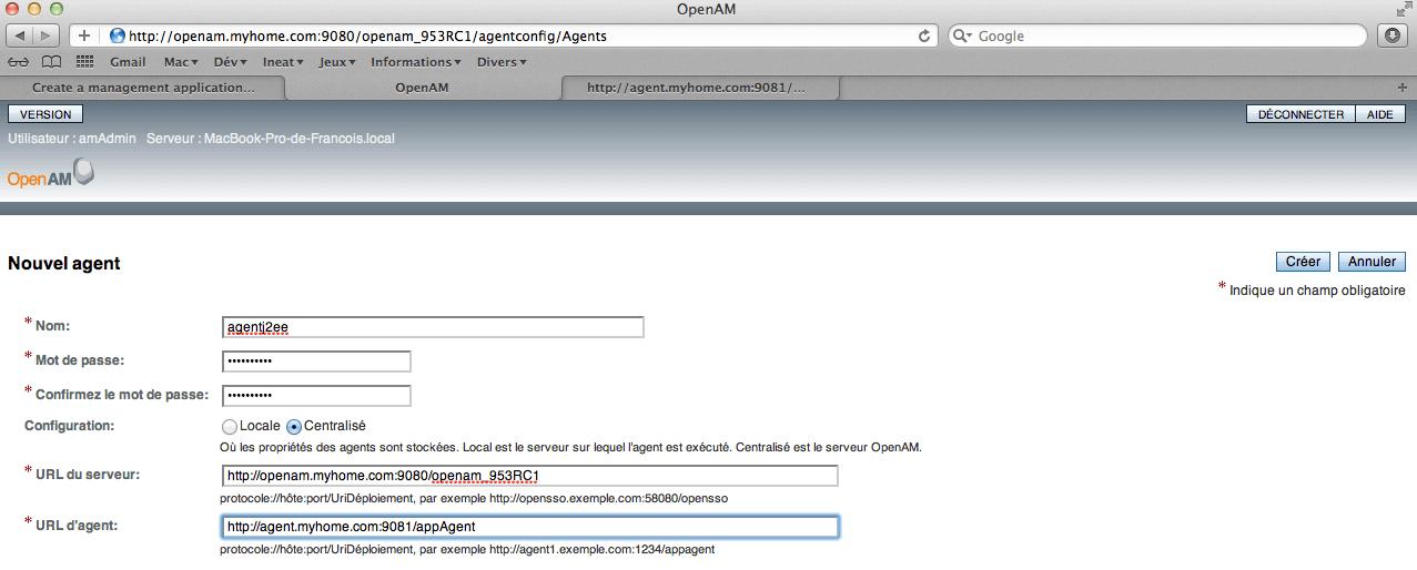 OpenAM - Configuration - Nouvel Agent - Step 4