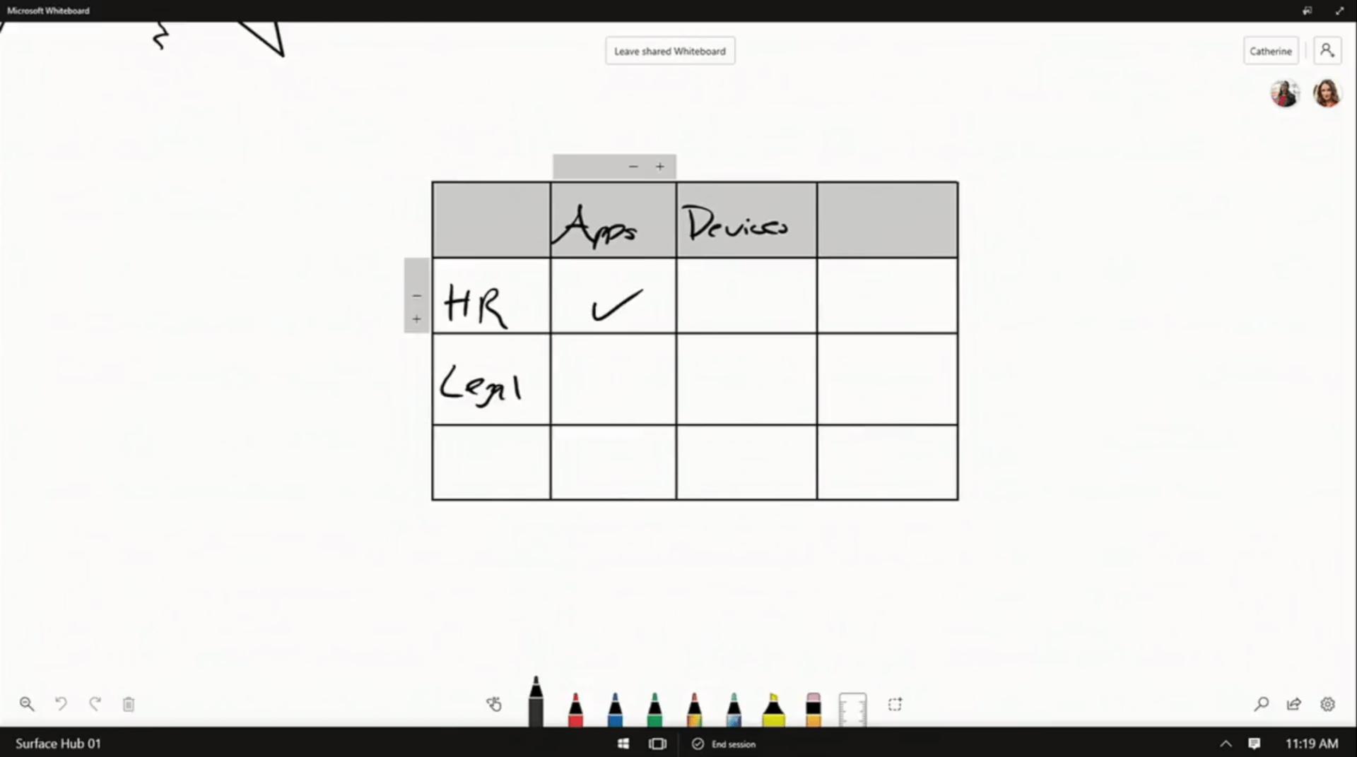 Texte de remplacement généré par une machine: Leave sh•ted WMeb0&d Surface Hub 01 11:19 AM