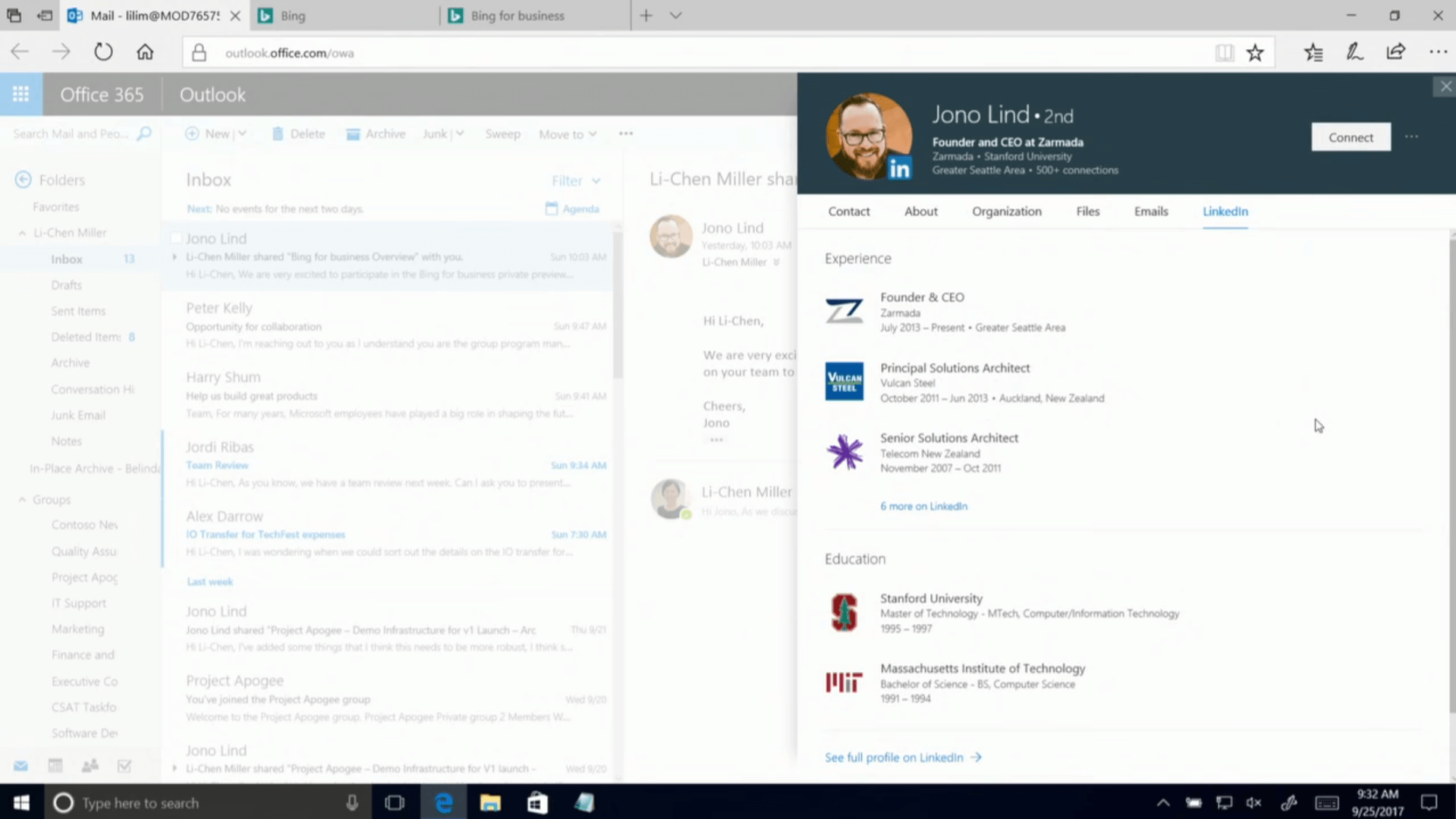 """Texte de remplacement généré par une machine: Mail lilim@MOD76S7! X Bing outlookoffice.comyowa Office 365 Outlook Inbox lnbox Bing for business Li Chen Miller sh. Jono Lind • 2nd Founder CEO at Zarmada Zarmada • Stanford Uruvervty fin Greater Seattle Area • SOO• Contact Expertence About Organization Files Emails Linkedln Hi lichen, We are verv exci on your team to (heers, Jono Founder & CEO Zarm.ada July 20'3 - Present • Greater Seattle Area Principal Solutions Architect Vulcan Stee• October 2011 — iun 2013 • New Zealand Senior Solutions Architect relecom New Zealand 2007 - oa 2011 6 rmre Education Stanford University Master of Technology Cornsx'ternn'ormat'""""' 1995 - '997 Massachusetts Institute of Technology Bachelot of S' 'once - B S Corrout« Sc.e«xe 1991 _ See full profile on l.tnkedln o Type here to search Connect 932 AM 9/25/2017"""