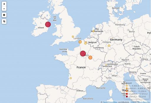 Visualisation de la répartition géographique