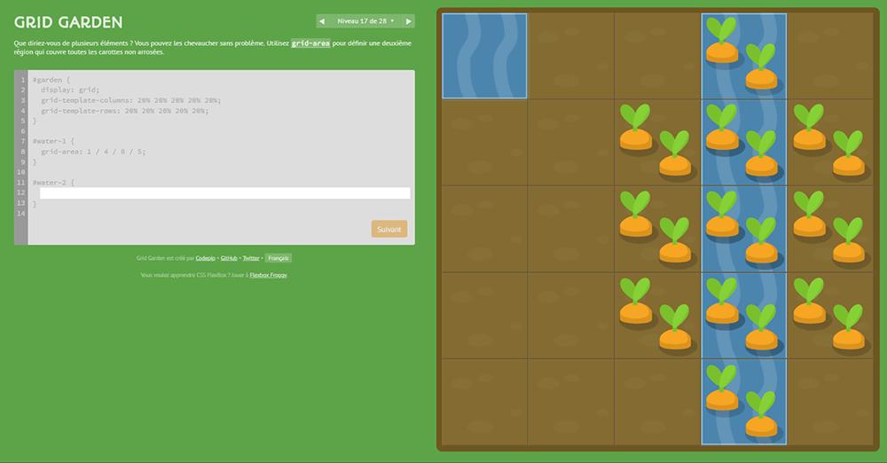 Grid Garden, where you write CSS code to grow your carrot garden !