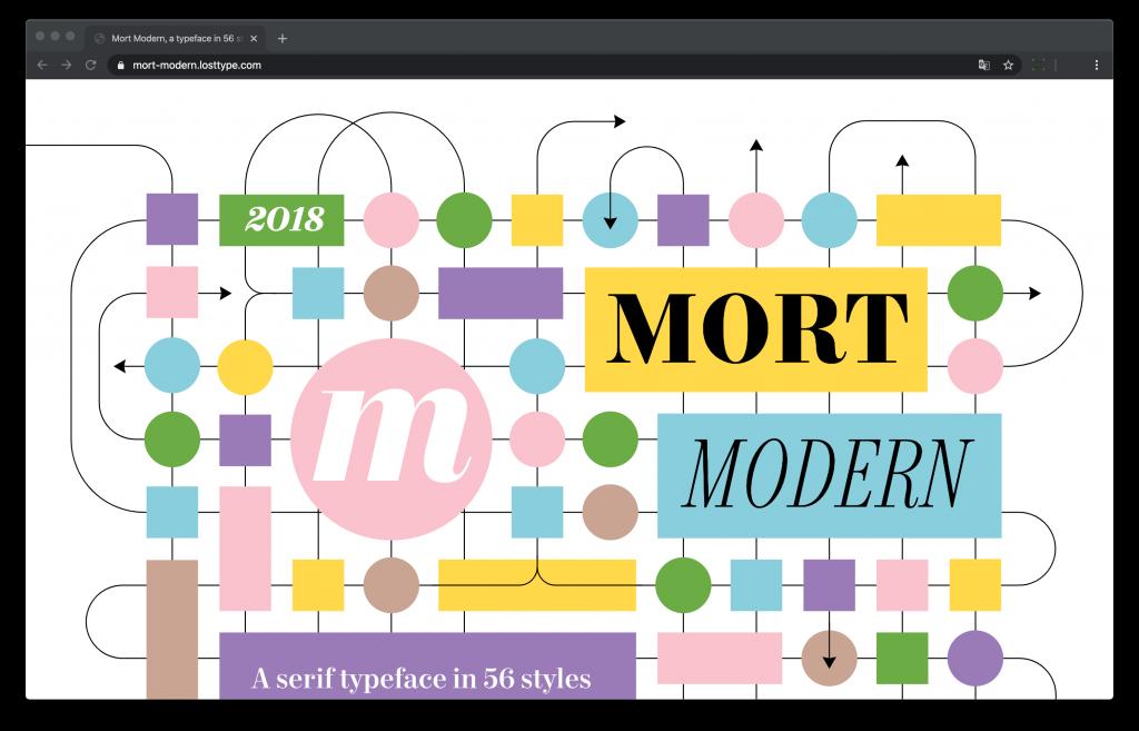 Site web dédié à la typographie Mort Modern