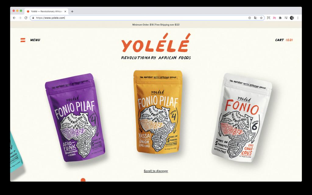Homepage du site Yolélé