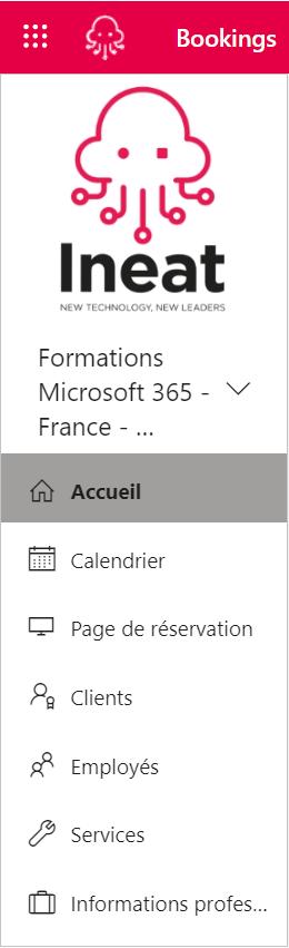 Planification des formations : menu Bookings