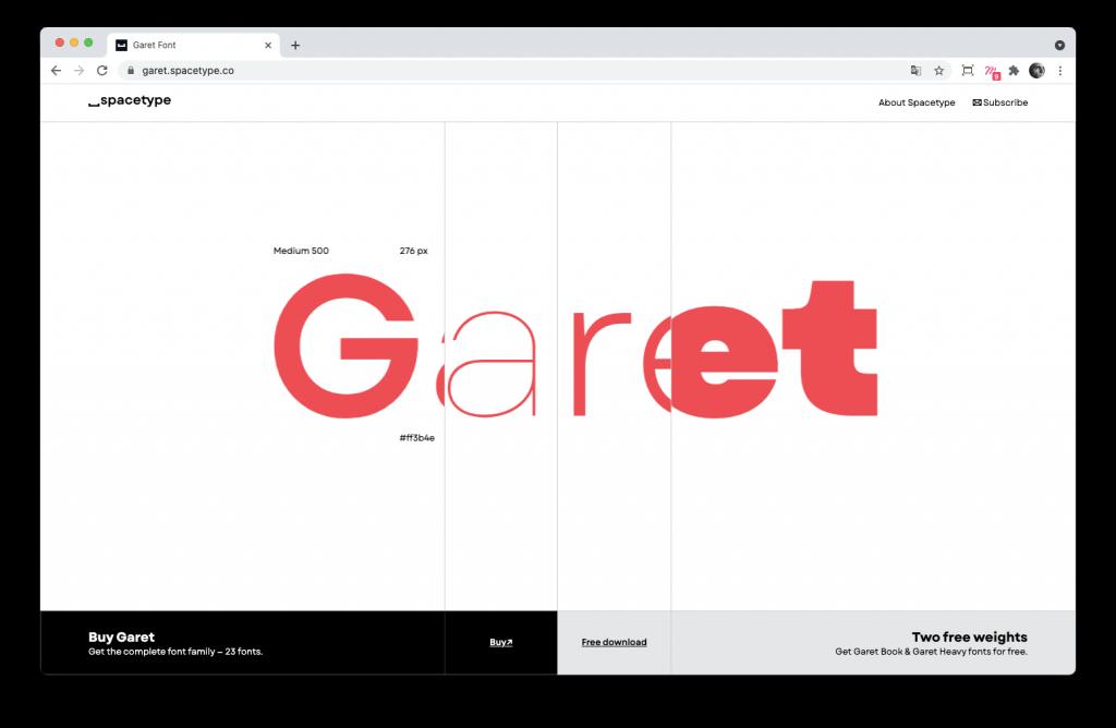Screenshoot de la home page du site Garet par Spacetype