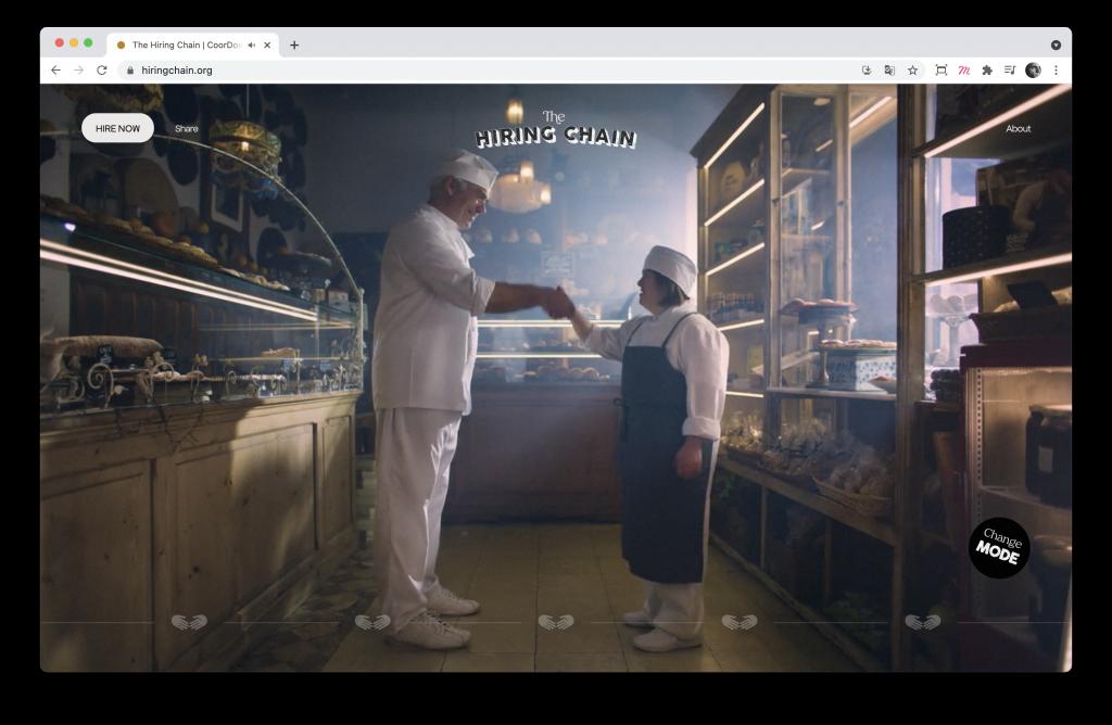 Screenshoot de la home page du site The Hiring Chain