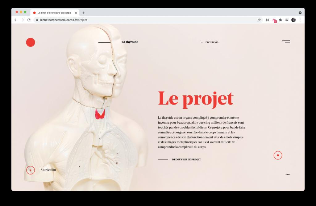 Screenshoot de la home page du site Le chef d'orchestre du corps
