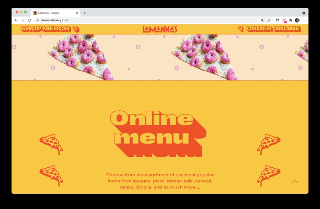 Screenshoot du site Lamanna's Bakery
