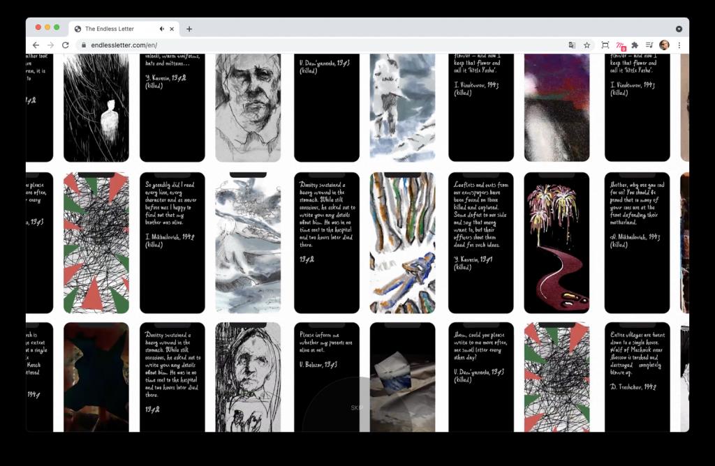 Screenshoot de l'introduction du site The endless letter