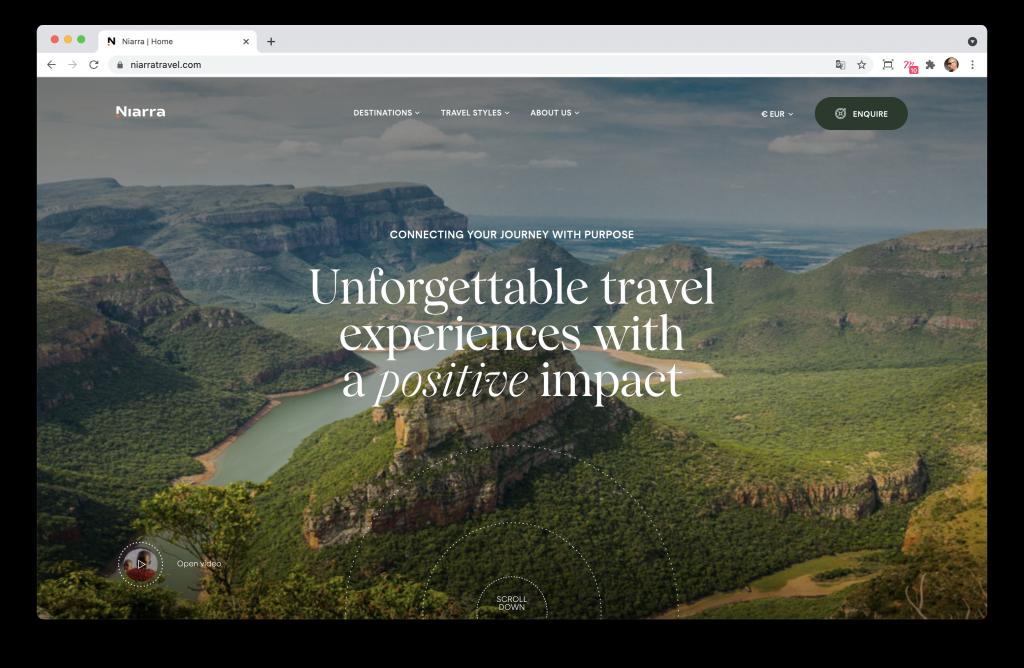Screenshoot de la home page du site Niarra Travel