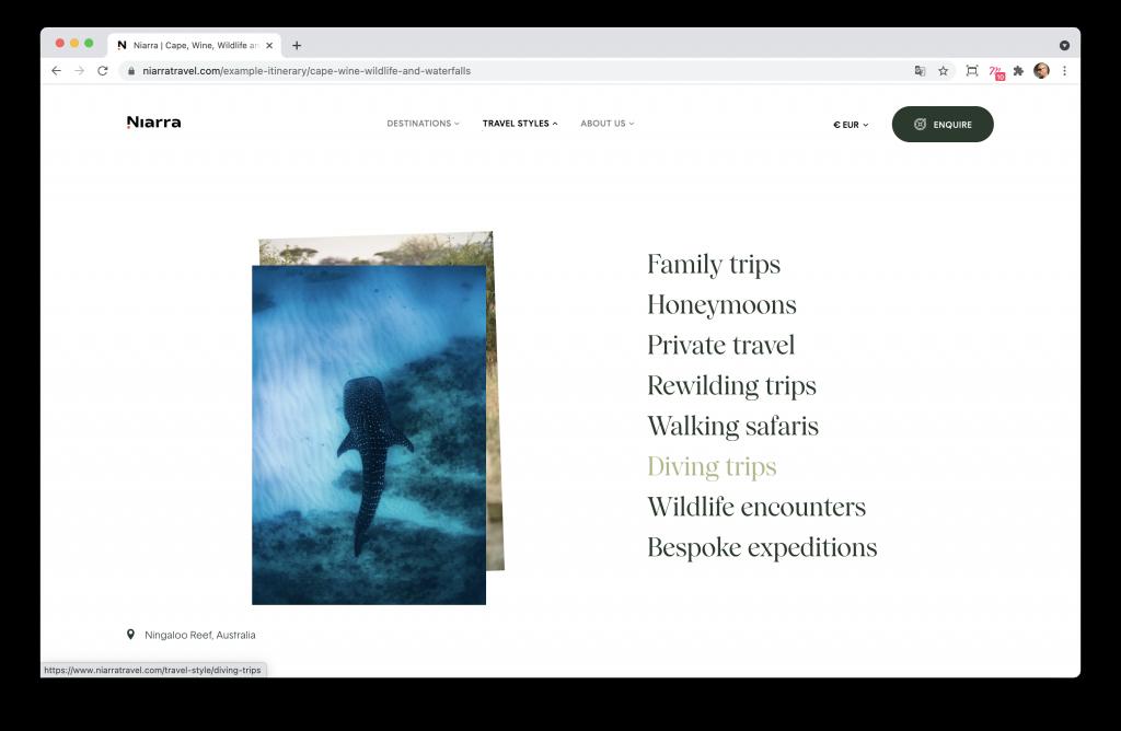 Screenshoot du menu du site Niarra Travel
